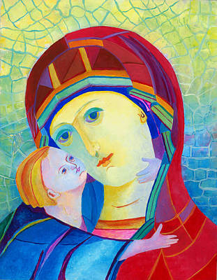 Vladimir Virgin Mary And Child, Mother Mary Madonna With Child. Polish Catholic Art  Art Print by Magdalena Walulik