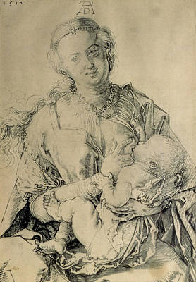 Virgin Mary Suckling The Christ Child, 1512 Charcoal Drawing Art Print by Albrecht Durer or Duerer