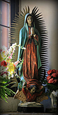 Stone Buildings Photograph - Virgin Of Guadalupe -- Mission San Jose by Stephen Stookey