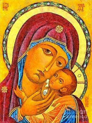 Orthodox Icon Mixed Media - Virgin Of Korsun by Dragica  Micki Fortuna