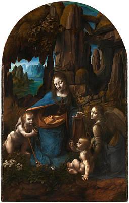 Pelts Painting - Virgin Of The Rocks by Leonardo Da Vinci