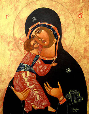Russian Icon Painting - Virgin Of Vladimir by Joseph Malham