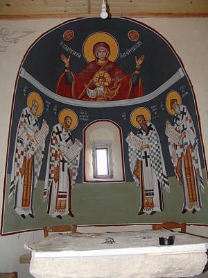 Byzantin Painting - Virgin Platytera With Hierarches by Charalampos Gkolfinopulos