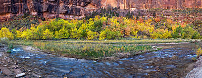 Zion National Park Photograph - Virgin River At Big Bend, Zion National by Panoramic Images