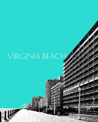 Ink Digital Art - Virginia Beach Skyline Boardwalk  - Aqua by DB Artist