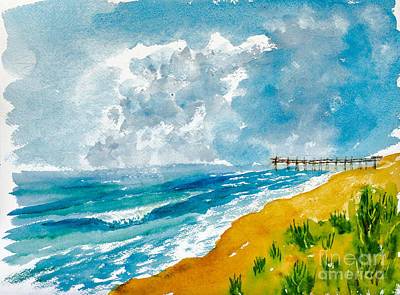 Painting - Virginia Beach With Pier by Walt Brodis