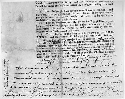 Virginia: Bill Of Rights Art Print