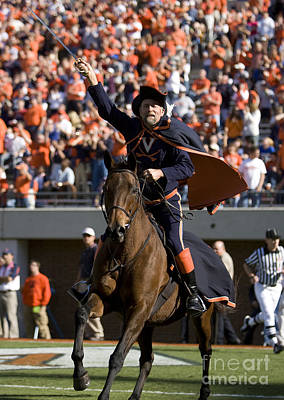 Sword Of Light Photograph - Virginia Cavaliers Mascot At Football Game by Jason O Watson
