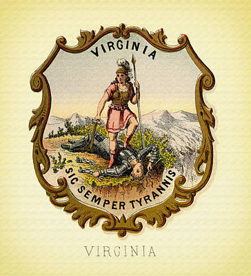 Virginia Coat Of Arms - 1876 Art Print