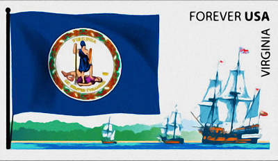 Geographic Location Painting - Virginia Flag  by Lanjee Chee