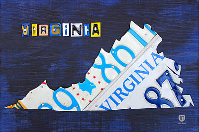 Virginia License Plate Map Art Art Print