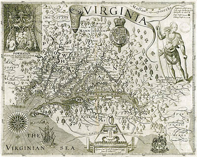 Virginia Drawing - Virginia Map 1606 by Jon Neidert