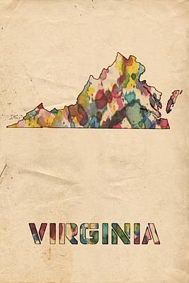 Painting - Virginia Map Vintage Watercolor by Florian Rodarte