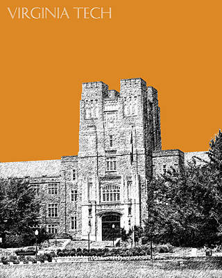 Pen Digital Art - Virginia Tech - Dark Orange by DB Artist