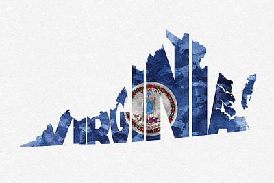 Vintage Map Digital Art - Virginia Typographic Map Flag by Ayse Deniz