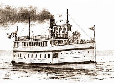 Virginia V Steamship Sepia Art Print