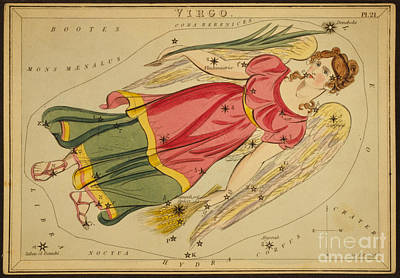 Photograph - Virgo Constellation Zodiac Sign 1825 by Science Source