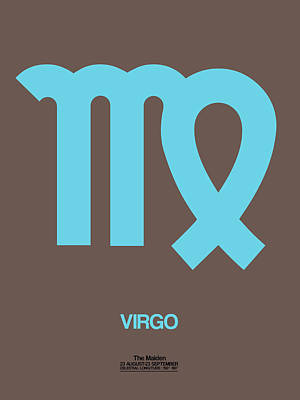 Gemini Digital Art - Virgo Zodiac Sign Blue by Naxart Studio
