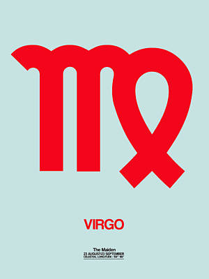 Digital Art - Virgo Zodiac Sign Red by Naxart Studio