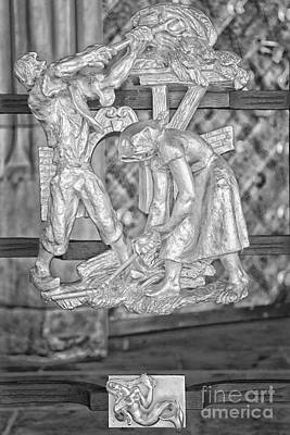 Virgo Photograph - Virgo Zodiac Sign - St Vitus Cathedral - Prague - Black And White by Ian Monk