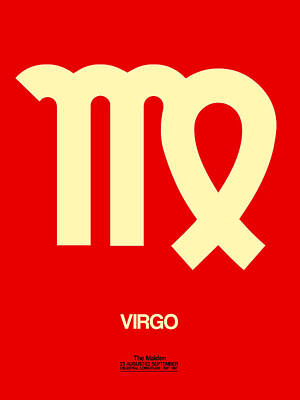 Virgo Digital Art - Virgo Zodiac Sign Yellow by Naxart Studio