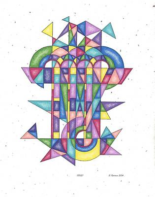 Matrix Code Drawing - Virgo Zodiac Symbol by Ruthie Ferrone