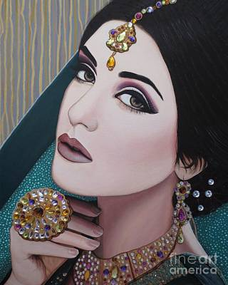 Painting - Viridian Indian Beauty by Malinda Prudhomme