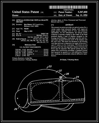 Virtual Reality Helmet Patent - Black Art Print by Finlay McNevin