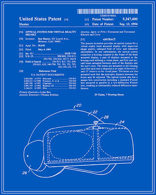 Virtual Reality Helmet Patent - Blueprint Art Print by Finlay McNevin
