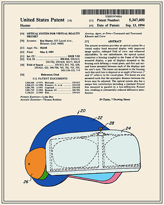 Virtual Reality Helmet Patent - Colour Art Print by Finlay McNevin