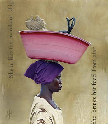African Mixed Media - Virtuous Woman  by Hannah  Harris