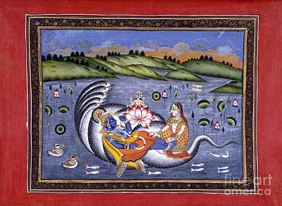 Vishnu And Lakshmi Art Print by British Library