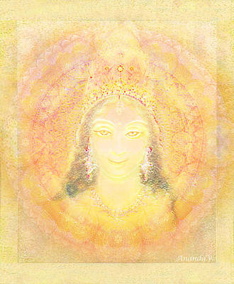 Goddess Durga Mixed Media - Vision Of A Goddess - A Being Of Light by Ananda Vdovic