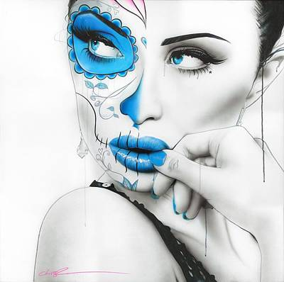 Black Hair Painting - Sugar Skull - ' Vision Of Caeruleum ' by Christian Chapman Art
