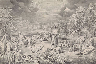 Angelic Drawing - Vision Of Ezekiel Across The Valley Of Bones by Nicolaes De Bruyn