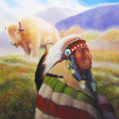 Visions Of The Sacred White Buffalo Art Print by Charles Wallis