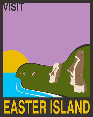 Supernatural Digital Art - Visit Easter Island Travel Poster by Finlay McNevin