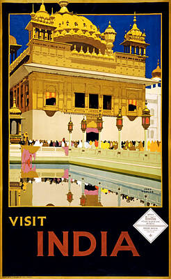 Flyers Art Drawing - Visit India 1935 by Mountain Dreams
