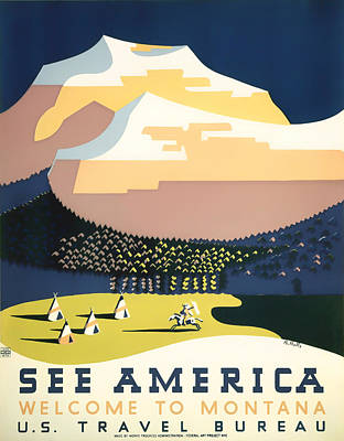 Ad Campaign Drawing - Visit Montana 1937 by Mountain Dreams