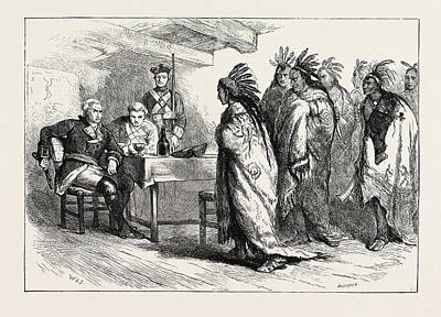 Pontiac Drawing - Visit Of Pontiac And The Indians To Major Gladwin by American School