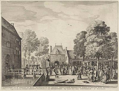 Visit Of Queen Henrietta Maria To Adriaen Peacock Art Print by Anonymous And Claes Jansz. Visscher (ii)