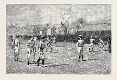 American Baseball Art Drawing - Visit Of The American Baseball Players To England by English School