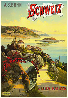 Ad Campaign Drawing - Visit Switzerland 1895 by Mountain Dreams