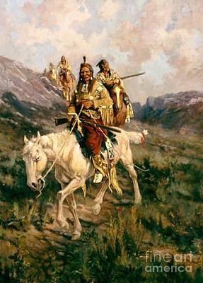 Horseback Painting - Visit To Another Tribe by Edgar Samuel Paxson