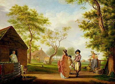 Old Barn Painting - Visit To The Country Dairy by Johan Prey