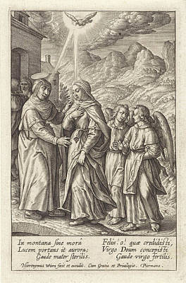 Holy Ghost Drawing - Visitation, Hieronymus Wierix by Hieronymus Wierix