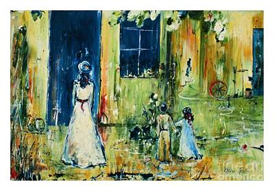 Prussian Blue Painting - Visite Chez Grand-maman by Aline Halle-Gilbert