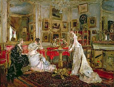 Visiting Art Print by Alfred Emile Stevens