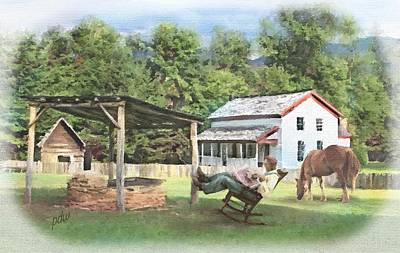 Grist Mill Mixed Media - Visiting Becky Cable's Place by Philip White