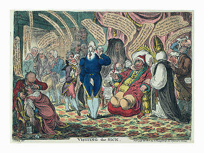 Historic Home Drawing - Visiting The Sick, Gillray, James, 1756-1815 by Welsh School